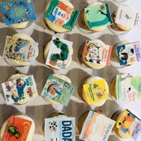 Mini Book Party Cupcakes Mini confetti cupcakes with edible book covers on top :)