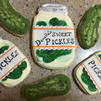 Pickle Theme Cookies Lime flavored sugar cookies decorated like pickles and pickle jars.