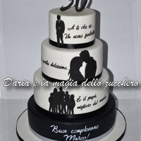 Silhouette Cake Simple, linear and essential.To embellish it only a few sentences, which contain all the love of a woman for her life partner ...Hand-...