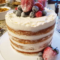 Sugared Fruit Naked Cake 4 layers vanilla with fresh whipped topping and sugared fruit