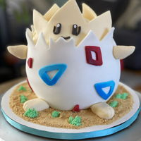 Togepei Pokemon Cake This design gave me a little more trouble than anticipated but figured it out!