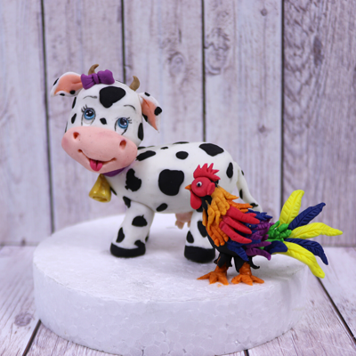 Cute Cow And A Little Rooster Cake Topper on Cake Central