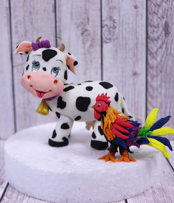 Cute Cow And A Little Rooster Cake Topper