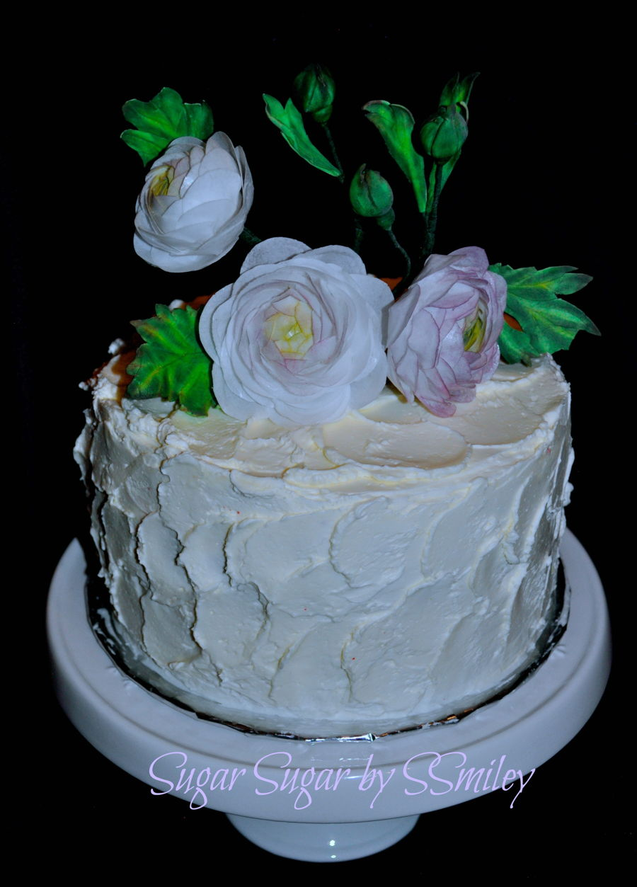 Rustic Buttercream & Rannuculus on Cake Central