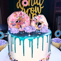 "2Nd Bday "" Donut Grow Up Cake 4 layer with buttercream and chocolate drip"