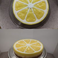 Cheesecake With Lemon Curd And Ermine Frosting. Cheesecake with lemon curd and ermine frosting.