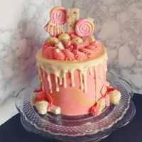 Pink Strawberry White Chocolate Drip Candy Cake Pink strawberry & white chocolate drip candy cake Topped with lollipops, strawberry wafer cookies, white Kit-Kats, strawberries &...