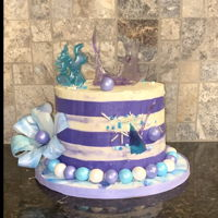 Purple And Teal Isomalt Cake Birthday cake For 15 year-old girl who loves the colors of teal and purple. Used wafer paper and isomalt to creat some of the decoration it...