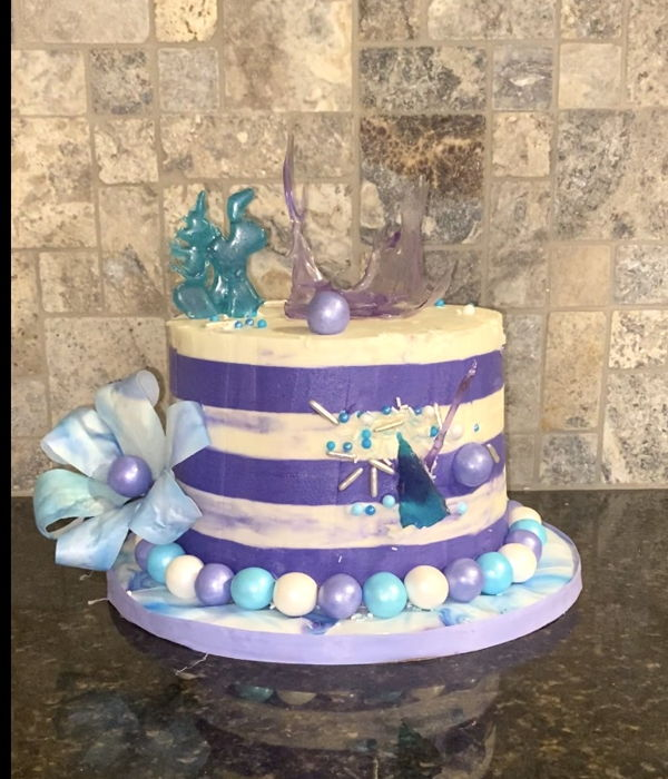 Purple And Teal Isomalt Cake