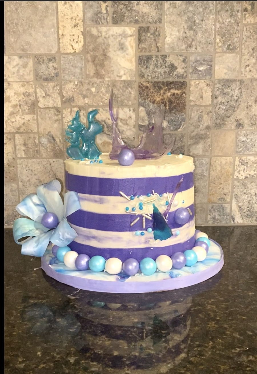 Purple And Teal Isomalt Cake on Cake Central