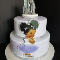Baby Shower - Ballerina 8 inch, 12 inch cake covered in fondant.
