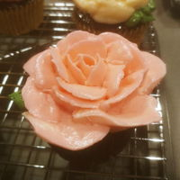 Korean Buttercream Flower Cupcakes Chocolate cupcakes, brushed with framboise simple syrup, decorated with roses made from Korean buttercream.