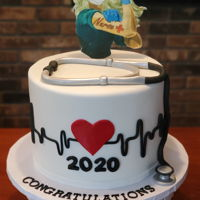 Nursing School Graduation Cake 3 Layer Fondant covered 8 inch round. Edible image Rosie Nurse attached to fondant. Gumpaste stethoscope.