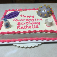 Quarantine Birthday Vanilla cake with vanilla buttercream icing. MMF figures.