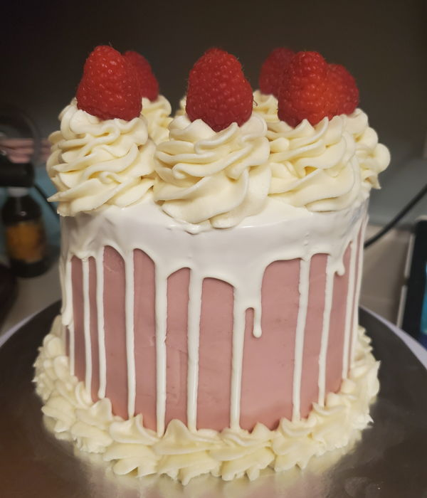 White Chocolate Raspberry Drip Cake
