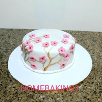 Cherry Blossoms Cake chocolate cake covered in fondant