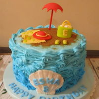 Esha Beach Cake Buttercream cake with fondant accents.