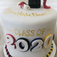 Grad Cake Chocolate and strawberry cake with fondant decorations.