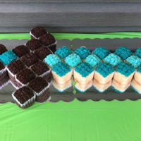 "Minecraft Sword Cupcake Cake 37 ""square"" cupcakes arranged as Minecraft sword. Used brownie pan for square cupcake shape"