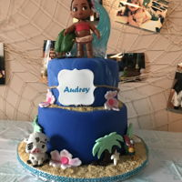 Moana Cake 2 tiers, fondant designs with plastic figurines. Ground graham cracker sand