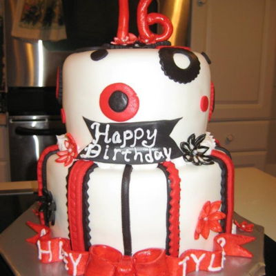 Red, Black & White Sweet 16 on Cake Central