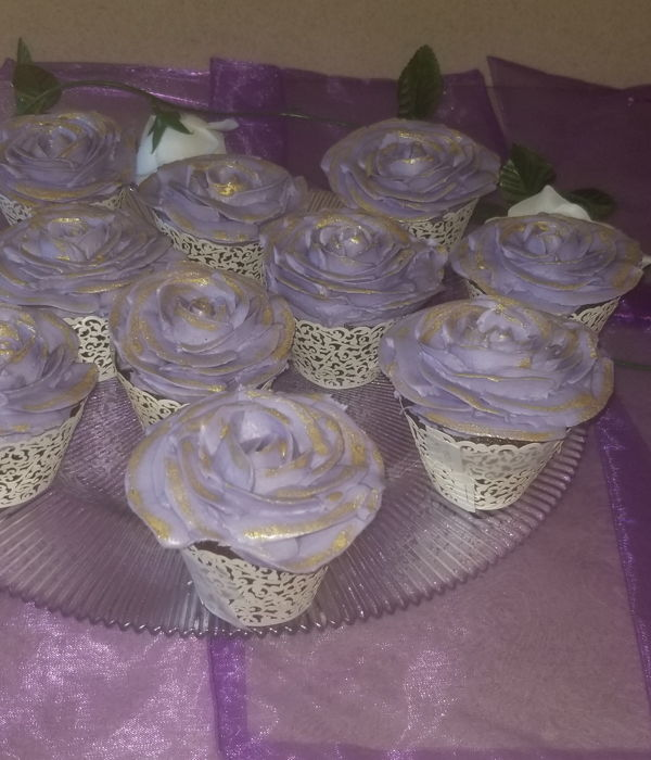 Purple And Gold Rose Cupcakes