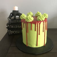 Bloody Horror Brown butter cream covered cake with ganache drip