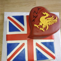 British Cake Cake of the British flag & sports team. White cake covered in MMF.