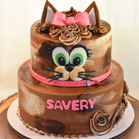 Calico Kitty Chocolate Buttercream cat themed cake for a little girl turning 1.