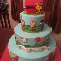 Charlie Brown Cake 3 tiered cake