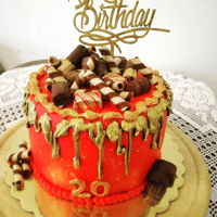 Chocolate Drip Cake Red and gold