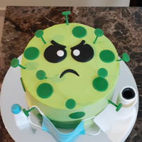 Covid Cake Fun coronavirus themed cake.