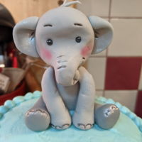 Elephant Baby Shower Not my best work... very last minute. I literally had 4 hours of notice! Fondant elephant, yellow cake and vanilla buttercream.