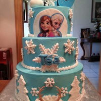 Frozen Themed Cake Frozen themed 3 tiered cake.