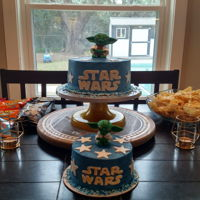 Grandson's Star Wars Cake White cake with buttercream layers and outer layer. Simple syrup on each layer.