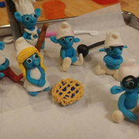Modeling Chocolate Smurfs Smurf characters made from homemade modeling chocolate.