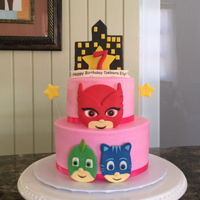 Pj Mask Cake Two tiered PJ Mask themed cake.