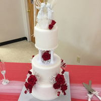 Red And White Wedding Cake I am uploading this picture again as it no longer shows up on the the site.