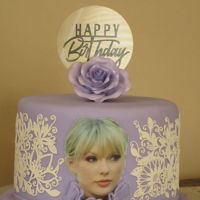 Taylor Swift #1 Fan Cake This was for Taylor Swift's #1 fan! lol Icing image used & the dress was the inspiration.