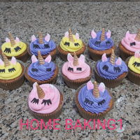 Unicorn Cupcakes vanilla cupcakes decorated with BC ears and horn fondant with CMC