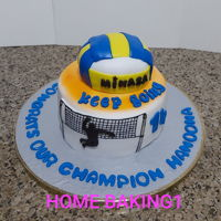 Volley Ball chocolate cake covered in fondant