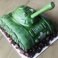 Wwii Tank Birthday Cake Chocolate cake and PB frosting. Fondant details, ganache mud.