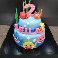 Baby Shark Cake For lovely baby Leila on her 2nd Birthday party!