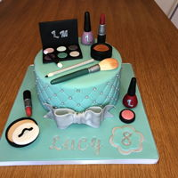Girls Make Up Cake Cake for my niece who wanted a girly make up cake. Wanted to get a Tiffany blue which I coloured from white fondant. Really fun to do my...