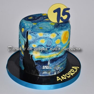 Starry Night Van Gogh Cake