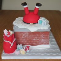 Santa Stuck In Chimney Cake Made for MIL. Delia Smith Christmas cake recipe with brandy. Had fun making this