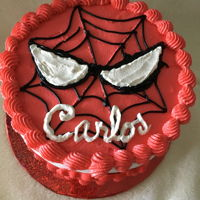 "Spiderman For a 6 year old boy. An 8"" x5"" round, top iced in b'cream, side wrapped with fondant."
