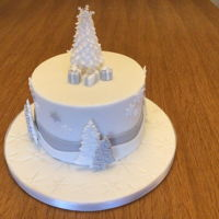White And Silver Christmas Cake Gluten free rich fruit cake, marzipan and fondant. Made for my aunt.