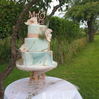 Green And Blsh Marbled Summer Wedding Cake It was a summer wedding in an orchid, a beautiful place to marry.The theme was blush with a touch of green.The fantasyflowers are made of...