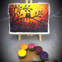 Painting On Easel Buttercream transfer painting, cake is standing on an easel